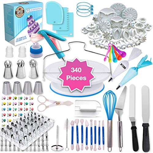 Cake Decorating Supplies | Cake Decorating Kit Baking Supplies Set For Beginners | Rotating Cake Turntable Stand | Icing Piping Tips & Bags | Frosting & Pastry Tools (340 Pcs)