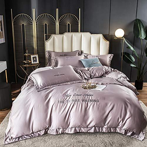 juego de funda nórdica cama 90,Lavar las hojas de seda de Tweet se colocaron en una cama de cuatro piezas de cama de color sólido simple-Ee_1,8 m de cama (4 piezas) (20 series de 200 * 230)