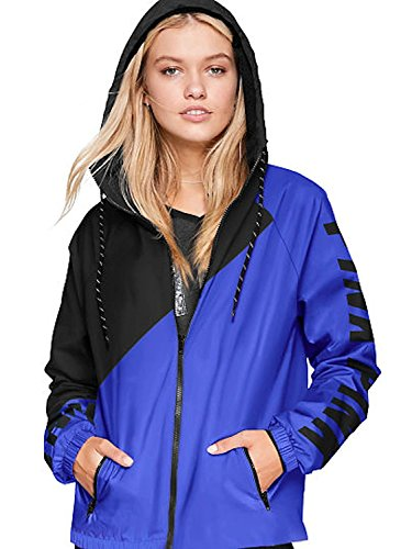 Victoria's Secret Pink Anorak Windbreaker Jacket Full-Zip, Blue, XS-S