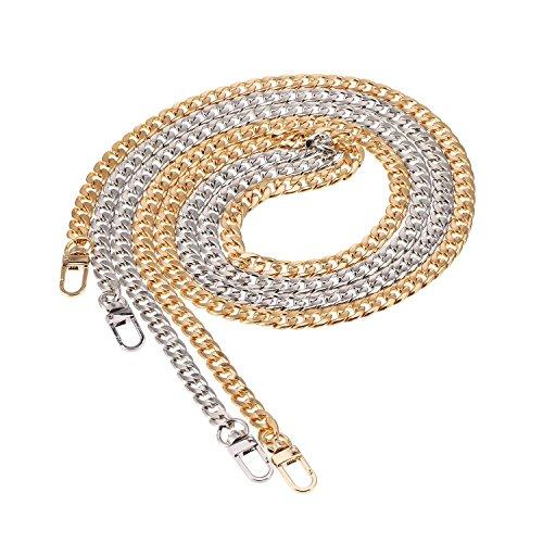 Catena piatta in ferro da 120 cm, per il fai da te, con 2 fibbie (oro e argento), catena di ricambio per borsa a tracolla