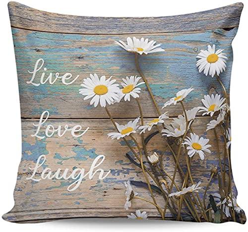 Fundas de almohada de margarita blanca de 18 x 18 pulgadas, fundas decorativas para sofá, decoración del hogar, regalo, cumpleaños, boda, decoración de fiesta, textura de tablero de madera Live Love L