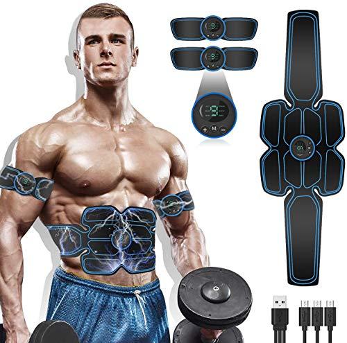 WARDBES Elettrostimolatore per Addominali,Elettrostimolatore Muscolare,EMS Stimolatore,USB Addominale Tonificante Cintura, LCD Display,Addome/Braccio/Gamba per Uomo o Donna