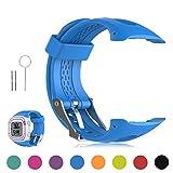 FESKIO - Correa para reloj deportivo Garmin Forerunner 10/Forerunner 15GPS, de silicona suave (tamaño grande/pequeño), L/Men Size, Azul