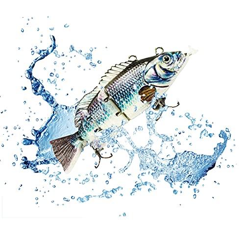 UFISH 3.5' Electric Live Bait, Robotic Fishing Lure - Swimming Wobbler - Bass Bait (Blue-Shine Bass)