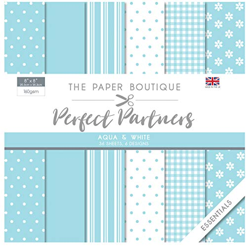 The Paper Boutique Perfect Partners-Paper Pad-Aqua & White, Various, 8 x 8 inches