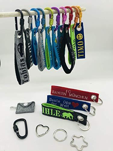 Personalisierterer, bestickter Schlüsselanhänger aus 2-lagigem Filz mit Name und Wunschmotiv