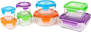 Wean Green Kitchen Set Glass Food Storage - Variety Pack of 8 containers