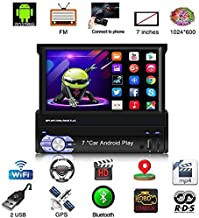 Android 1 Din Car Stereo Navigation 7 Inch Capacitive Retractable & Flip Out Touch..