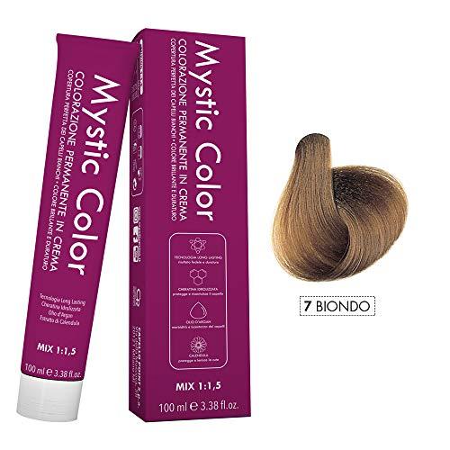 Mystic Color - Colore Biondo 7 - Tinta per Capelli - Colorazione Professionale in Crema a Lunga Durata - Con Cheratina Idrolizzata, Olio di Argan e Calendula - 100 ml
