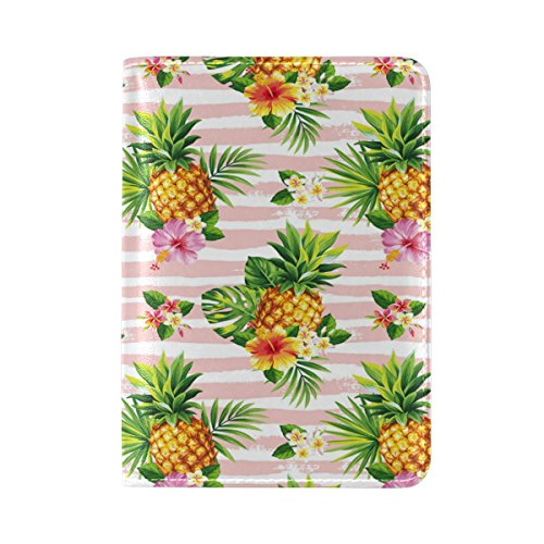 ALAZA Palm Tree Pineapple Hibiscus Flower Leather Passport Holder Cover...