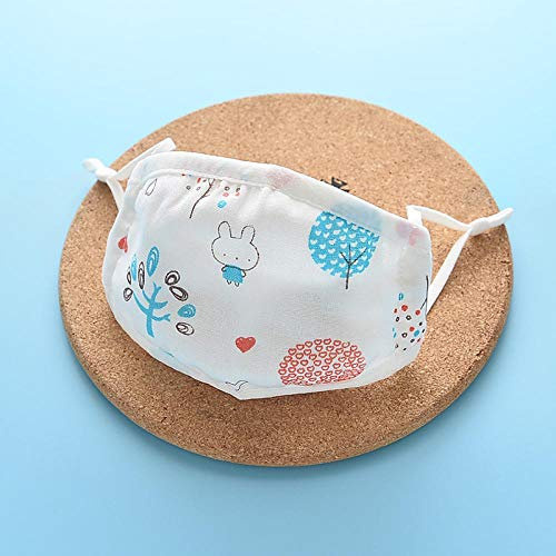 Kinder Gaze Maske, Baby Kinderzimmer Strickdruck Cartoon staubdichten Sommer Dünnschnitt, waschbare Baumwolle-Baumkaninchen_2-12 Jahre alt