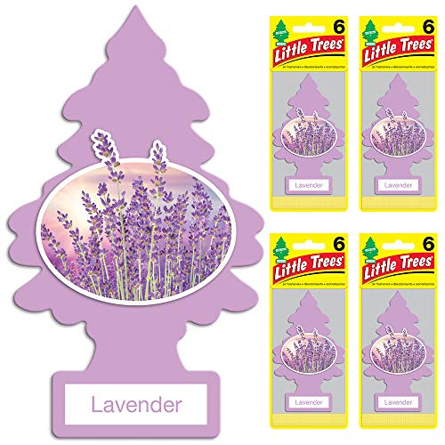 Little Trees - U6P-60435-AMA Car Air Freshener - Hanging Tree Provides Long Lasting Scent for Auto or Home - Lavender, 24 Count, (4) 6-Packs