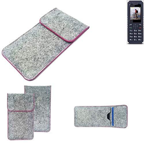 K-S-Trade Handy Schutz Hülle Für Bea-fon AL250 Schutzhülle Handyhülle Filztasche Pouch Tasche Hülle Sleeve Filzhülle Hellgrau Pinker Rand