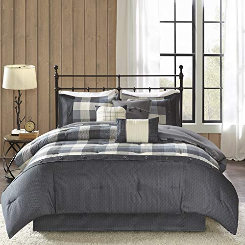 7pc King Warren Herringbone Comforter Bedding Set with Bedskirt and Decorative Pillows - Gray