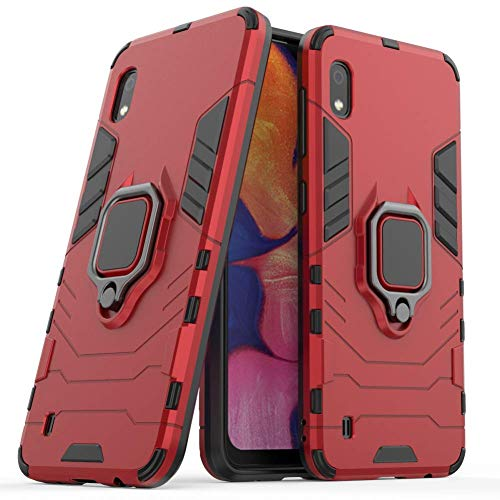 DWaybox Custodia for Galaxy A10 Ring Holder Iron Man Design 2 in 1 Hybrid Heavy Duty Armor Hard Back Custodia Cover Compatible with Samsung Galaxy A10 SM-A105/A105M/A105G/A105F 6.2 inch (Red)