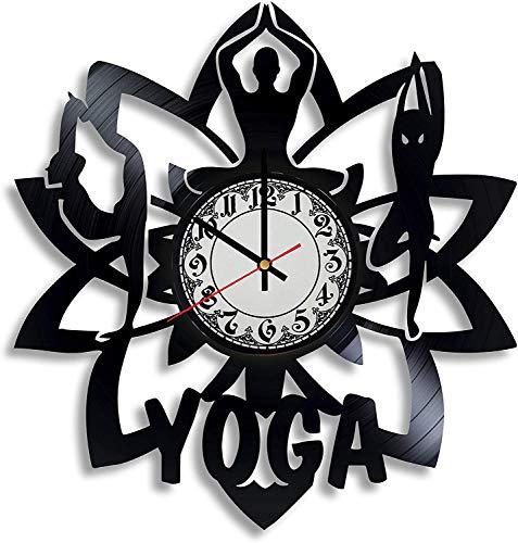 SILVERSART - Reloj de pared de vinilo para mujer, diseño de arte de yoga, regalo para profesor de yoga, decoración de loto, símbolo de meditación, emblema de yoga, Navidad