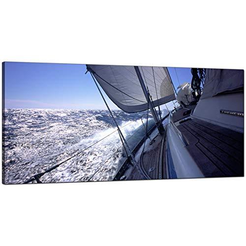 Moderno azul lienzo fotos de un barco de vela–grande mar pared arte–1105–Wallfillers®