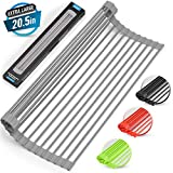 """Large 20.5"""" Multipurpose Roll Up Dish Drying Rack & Trivet - Heavy Duty, Silicone-Coated Stainless Steel Roll Up Rack, Rolls Out Over any Sink or Counter - Versatile Roll Up Sink Drying Rack by Zulay"""