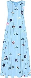 Women Long Maxi Dress Butterfly Printed Vintage Sleeveless Striped Dress