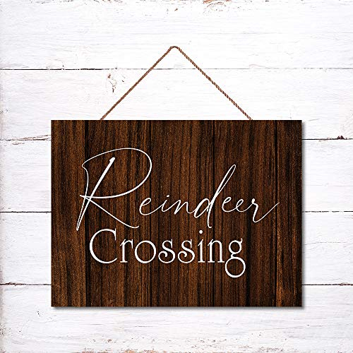 Blafitance Rustic Wood Plaques with Sayings 12x16 Inch Wall Hanging Signs Reindeer Crossing Sign Wall Art Sign Door Sign Home Decorative Prints