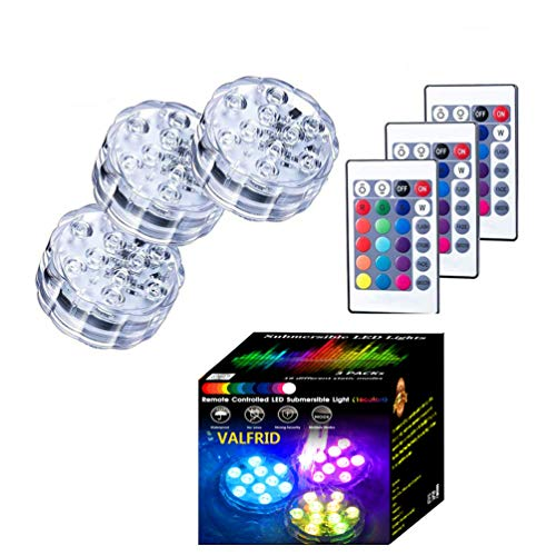Upgraded Submersible ALED Lights ,Multicolor RGB 16 Colors Pool Lights Underwater,Remote Control Bath Spa Lights for Garden Swimming Pool,Bowl,Fish Tank,Christmas,Party Lights -3 Packs
