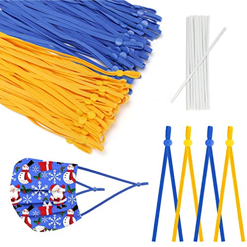 100 Pcs Elastic String 1/4 inch Adjustable Buckle Sewing Elastic Band(Length :About 7.5inch), for Hand Sewing DIY mas-k, Suitable for Adults and Children (Blue and Yellow, 100pcs)
