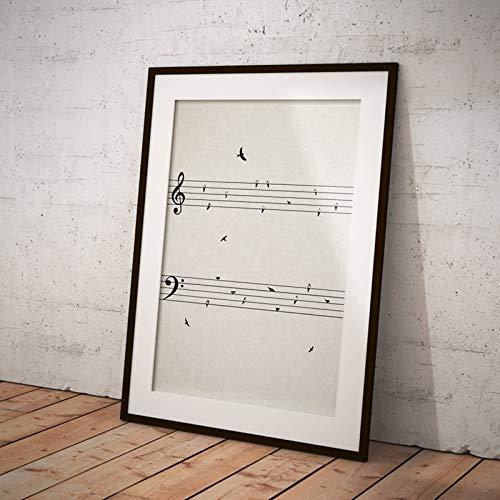 WAGUZA Partitura con pájaros, póster Vintage, Impresiones, música, Cuadro artístico de Pared,...