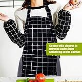 RenFox Schürze, Wasserdicht Kochschürze mit Taschen,Verstellbarem Küchenschürze in Profiqualität,Grillschürze,latzschürze,Küchenschürze (Schwarz-Weiß-Gitter) - 9