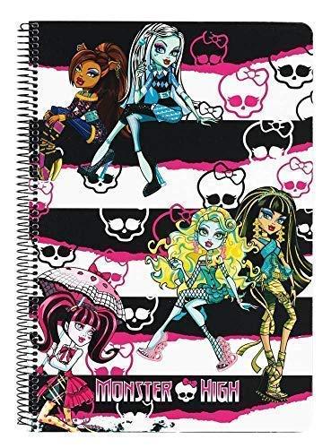 Monster High - Block, DIN A4; 80 Seiten; schwarz, weiß, rosa; 511244066B (Safta)