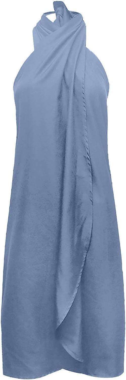 PAPIYON Women's Short Sheath Slimming Stretch Halter Neck Dress Sleeveless Off Shoulder Elegant Ladies Party Dress