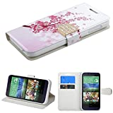 MyBat HTC 510 (Desire 510) Spring Flowers MyJacket Wallet (with Diamante Belt) (981) - Retail Packaging - White