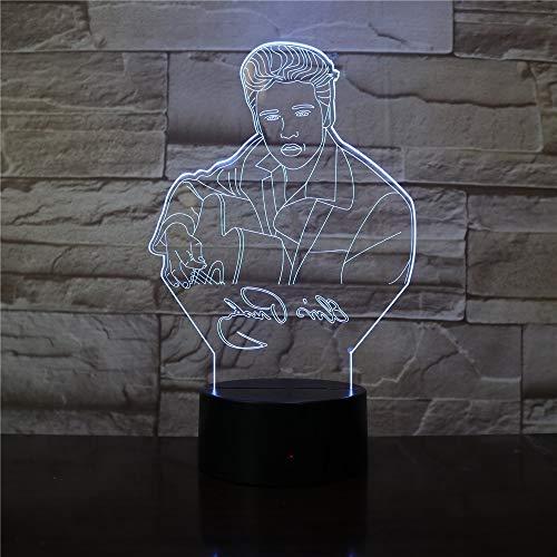 Lámpara de mesita de noche inteligente escritorio 3D rock king LED luz nocturna ambiente musical sensor USB decoración única del hogar