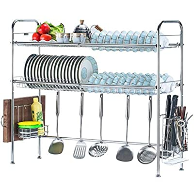 Dish drainer Stainless Steel Double-layer Sink Drain Dish Rack Kitchen Storage Storage Rack Three Specifications. from GZJF