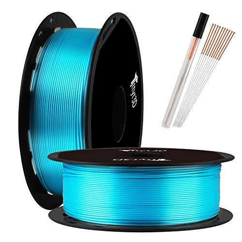TTYT3D Shine Silk Turquoise Blue PLA 3D Printer Filament - 1.75mm 3D Printing Material 1kg 2.2lbs Spool with One Bottle of 3D Print Tool Extra Accessory
