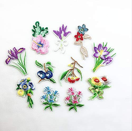 11pc Embroidered Small Plant Flowers Polychromatic Motif Flower hot fix Iron On Patches Applique DIY Lace Clothing Accessory (Color 1)