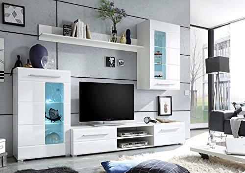 Wohnwand –  Weiße, moderne Wohnzimmer Anbauwand Bild 2*
