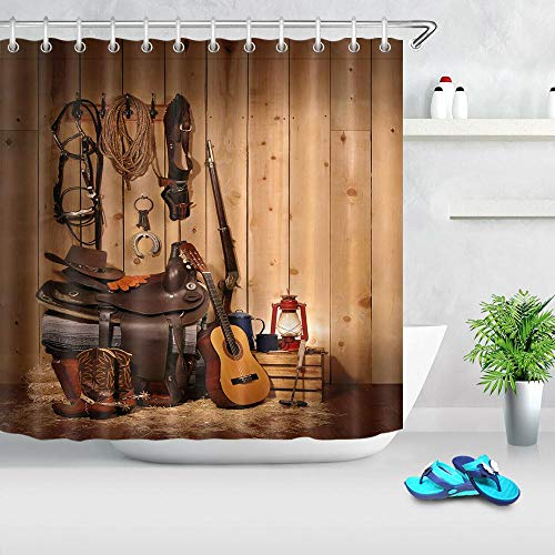 N / A Cowboy hat boots guitar antique wooden wall waterproof fabric decoration shower curtain bathroom home waterproof and mold proof decoration shower curtain A65 150x180cm