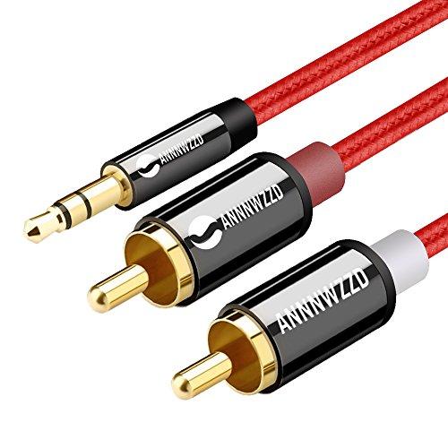 Cable Audio RCA,Jack 3,5mm Macho a 2RCA Macho Nylon Trenzado Estéreo Cable,para el Smartphone, Sistema HiFi,iPod, Smart TV, Reproductor MP3, Tablet, PC al Amplificador, Sistema Estéreo y etc (0.5M)