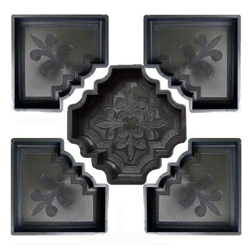 @tec Betonform Schalungsform Gießform Polypropylen (Kunststoff) - Terrassenplatte/Gehwegplatte - französische Lilie Orient - SET bestehend aus 5 Formen