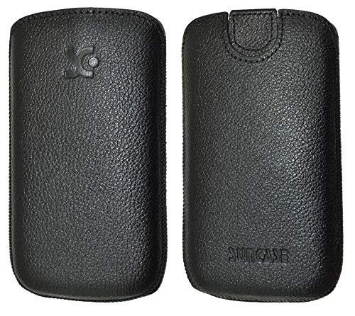 Suncase Original Tasche für artfone CS181 Leder Etui Handytasche Ledertasche Schutzhülle Hülle Hülle Lasche mit Rückzugfunktion* In Vollnarbig Schwarz