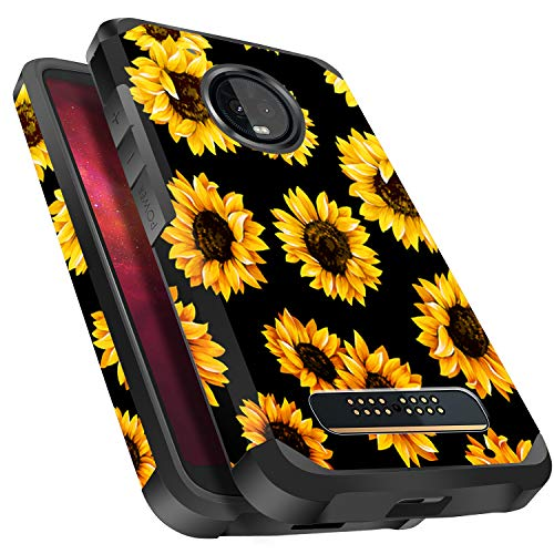 Miss Arts Moto Z3 Play Case, Moto Z3 Case, Slim Anti-Scratch Protective Kit with [Drop Protection] Heavy Duty Dual Layer Hybrid Sturdy Armor Cover Case for Moto Z3 Play 2018 -Sunflower