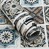 TOTIO Papel de contacto estilo mexicano papel pintado azulejos patrón 15.75' x 354.33' pegatinas de vinilo adhesivo para muebles de cocina y baño, resistente al agua