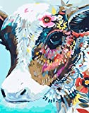 Paint by Number Kit, DIY Paint by Numbers for Adults, Kids, Beginner, Acrylic Oil Painting Arts Craft for Home Wall Decor Colourful Cow 16x20 Inch