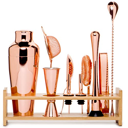 Jillmo Pro Martini Bartender Kit Copper Coated Rose Gold Stainless Steel Bar Set