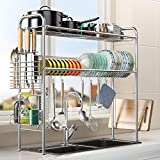 Over Sink Dish Drying Rack - 2 Tier Kitchen Sink Dish Rack 304 Stainless Steel...