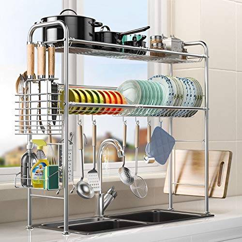 2 Tier Over The Sink Dish Drying Rack, Dish Drying Rack with Utensil Holder Hooks, 304 Stainless Steel Large Dish Drainers for Length Adjustable Kitchen Counter Organizer(Sink Size ≤ 33'')