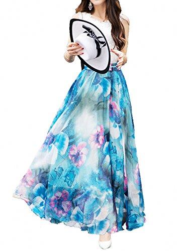 Afibi Women Full/Ankle Length Blending Maxi Chiffon Long Skirt Beach Skirt (Medium, Design B)