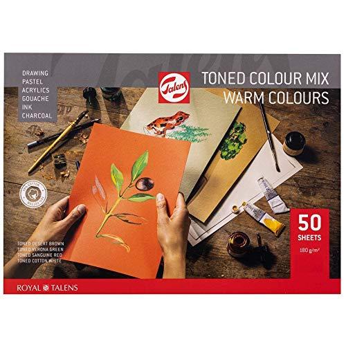 Talens Toned Colour Block Warm - Bloc de notas (A4, 50 hojas, 180 g/m²)
