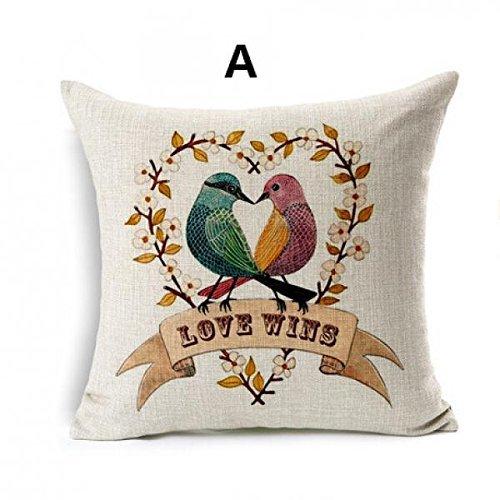 Jtartstore Minimalist style flower bird linen pillow for sofa cartoon car cushions 18 x 18 inches
