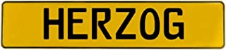 Vintage Parts 656310 Wall Art (Herzog Yellow Stamped Aluminum Street Sign Mancave)